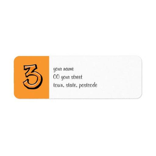 Etiqueta anaranjada del remite del número 3 tontos etiqueta de remite