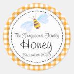 Etiqueta anaranjada del top del tarro de la abeja