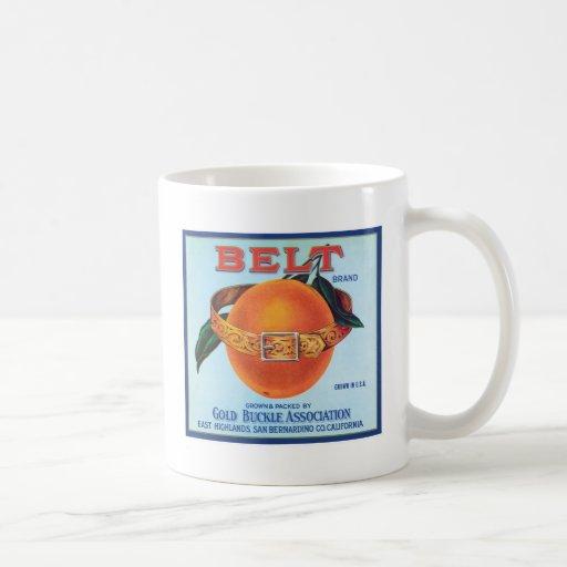 Etiqueta anaranjada del vintage de la correa tazas de café