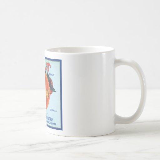 Etiqueta anaranjada del vintage de la correa taza de café