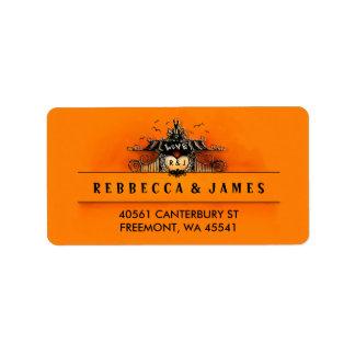 Etiqueta anaranjada y negra del amor de Halloween Etiquetas De Dirección