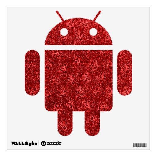 Etiqueta androide roja de la pared de las flores r
