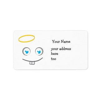 Etiqueta angelical de la sonrisa de la expresión etiquetas de dirección