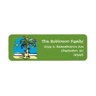 Etiqueta animada del remite del navidad de la palm etiquetas de remite