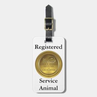 Etiqueta animal registradoa del servicio (tamaño d etiquetas para equipaje