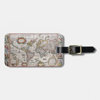 Etiqueta antigua del equipaje del mapa del mundo etiquetas para maletas