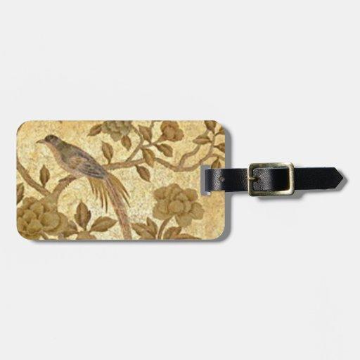 Etiqueta antigua del equipaje del oro w/Bird Etiqueta De Maleta