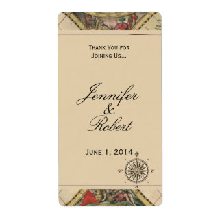 Etiqueta antigua del vino del boda del mapa de etiqueta de envío