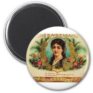Etiqueta antigua Isabel   (   L11) de la caja de c Imán Redondo 5 Cm