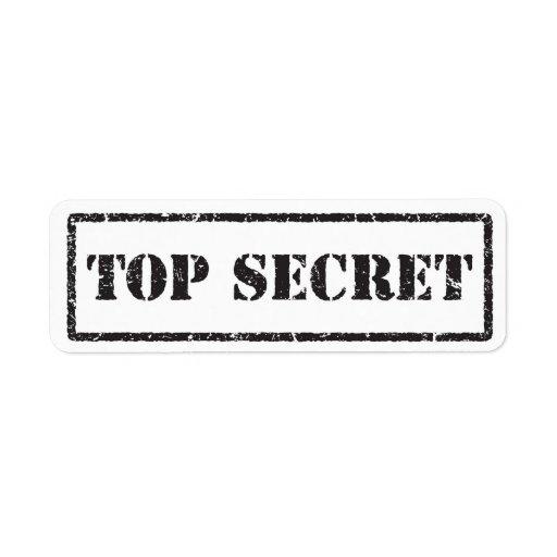 Etiqueta apenada negro secretísimo etiqueta de remite