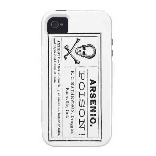 Etiqueta arsénica del veneno del vintage Case-Mate iPhone 4 carcasas