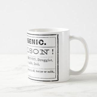 Etiqueta arsénica del veneno del vintage taza de café
