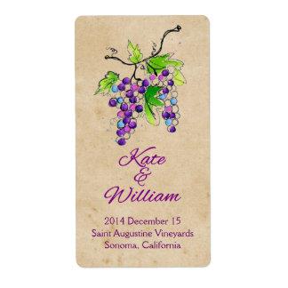 Etiqueta artística de la botella de vino del boda  etiqueta de envío