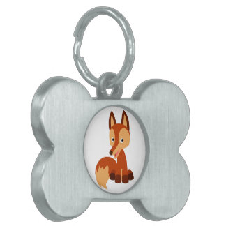 Etiqueta astuta linda del mascota del Fox del dibu Placa De Mascota