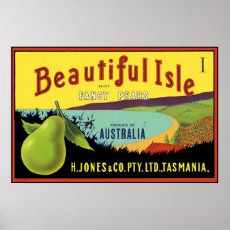 Etiqueta australiana del cajón de la pera de la is póster