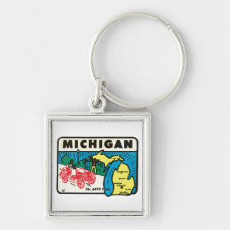 Etiqueta auto del estado de Michigan MI del viaje  Llavero Cuadrado Plateado