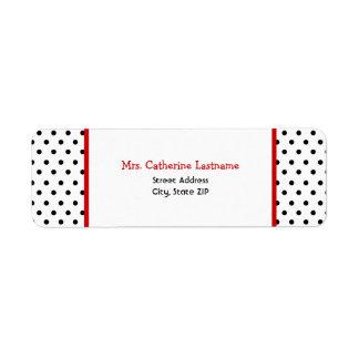 Etiqueta autoadhesiva blanca y roja negra del dot etiquetas de remite