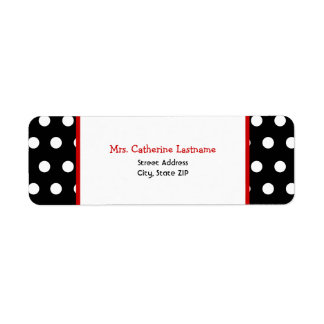 Etiqueta autoadhesiva blanca y roja negra del dot etiqueta de remitente