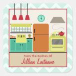Etiqueta autoadhesiva colorida retra de la cocina