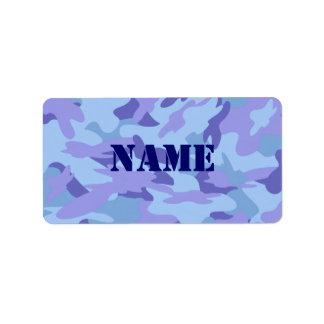 Etiqueta autoadhesiva conocida azul de Camo Etiqueta De Dirección