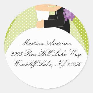 Etiqueta autoadhesiva de la dirección de la novia