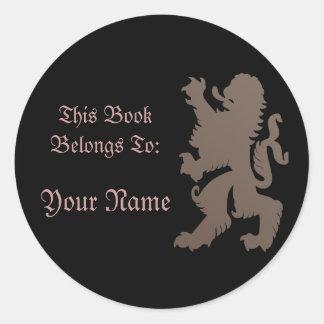 Etiqueta autoadhesiva del libro del león