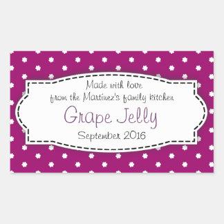 Etiqueta autoadhesiva púrpura de la comida de la j