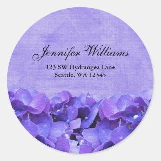 Etiqueta autoadhesiva púrpura de la dirección de