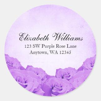Etiqueta autoadhesiva púrpura de la dirección del