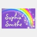 Etiqueta autoadhesiva púrpura de la identificación