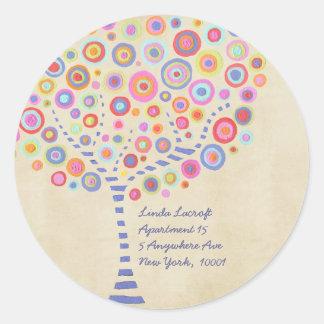 Etiqueta autoadhesiva retra del árbol del caramelo