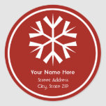 Etiqueta autoadhesiva roja y blanca de la direcció
