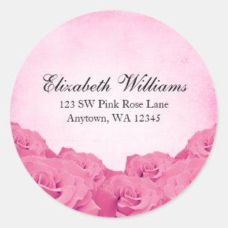 Etiqueta autoadhesiva rosada de la dirección del