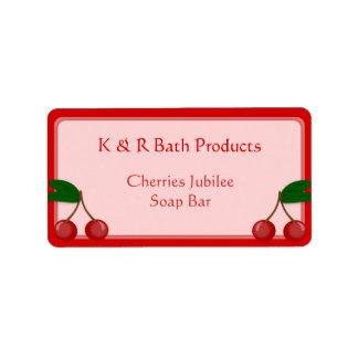 Etiqueta autoadhesiva rosada y roja del jabón de etiqueta de dirección