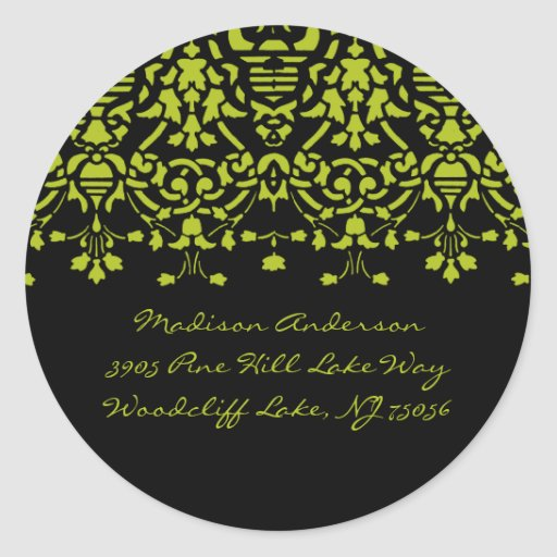 Etiqueta autoadhesiva verde y negra elegante de la