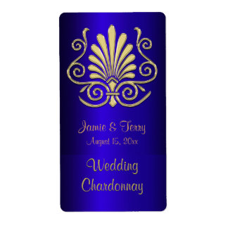 Etiqueta azul 2 del vino del fiesta del damasco etiqueta de envío