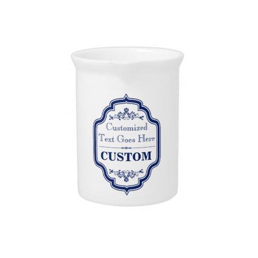 Etiqueta azul 2 del vintage jarra