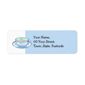 Etiqueta azul blanca del remite de la taza de té etiqueta de remitente