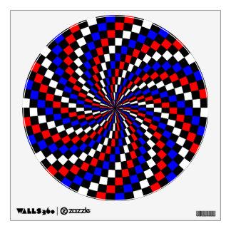 Etiqueta azul blanca roja de la pared del espiral  vinilo