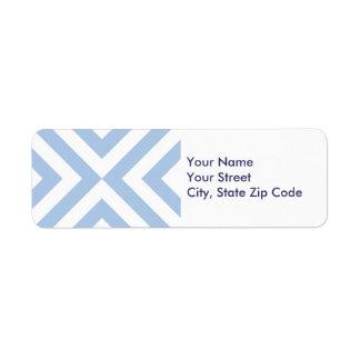 Etiqueta azul clara y blanca del remite de los etiquetas de remite