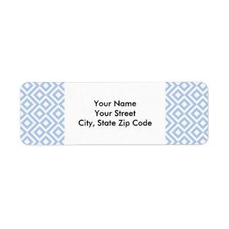 Etiqueta azul clara y blanca del remite del etiqueta de remitente
