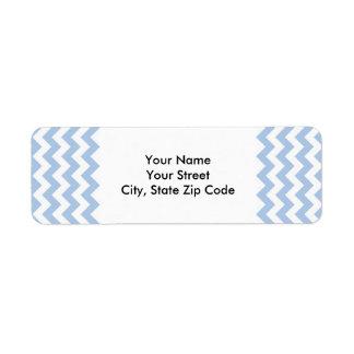 Etiqueta azul clara y blanca del remite del zigzag etiquetas de remite