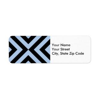 Etiqueta azul clara y negra del remite de los etiquetas de remite