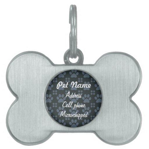 Etiqueta azul de encargo del mascota del modelo de placas de mascota