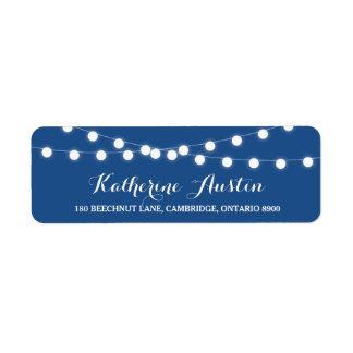 Etiqueta azul de hadas blanca del remite de las etiquetas de remite