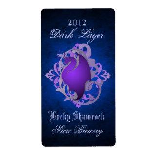 Etiqueta azul de la cerveza de la voluta púrpura d etiqueta de envío