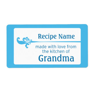 Etiqueta azul de la comida etiqueta de envío