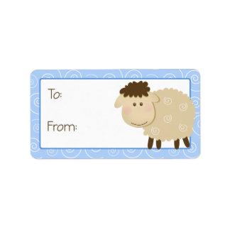 Etiqueta azul de la etiqueta del regalo del etiqueta de dirección