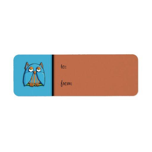 Etiqueta azul de la etiqueta del regalo del marrón etiqueta de remitente