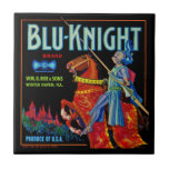 Etiqueta azul de la fruta del caballero azulejo ceramica
